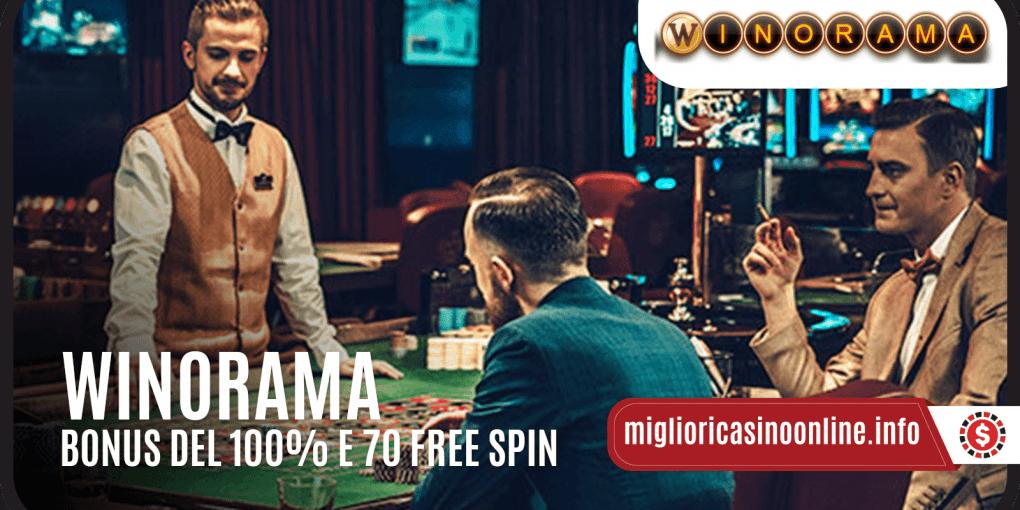 Bonus del 100% e 70 Free Spin Winorama