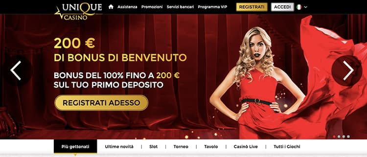 unique casino homepage